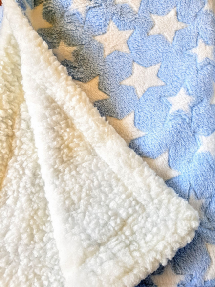 Cuddle fleece super soft LIGHT BLUE WHITE STARS Dog / Cat blanket